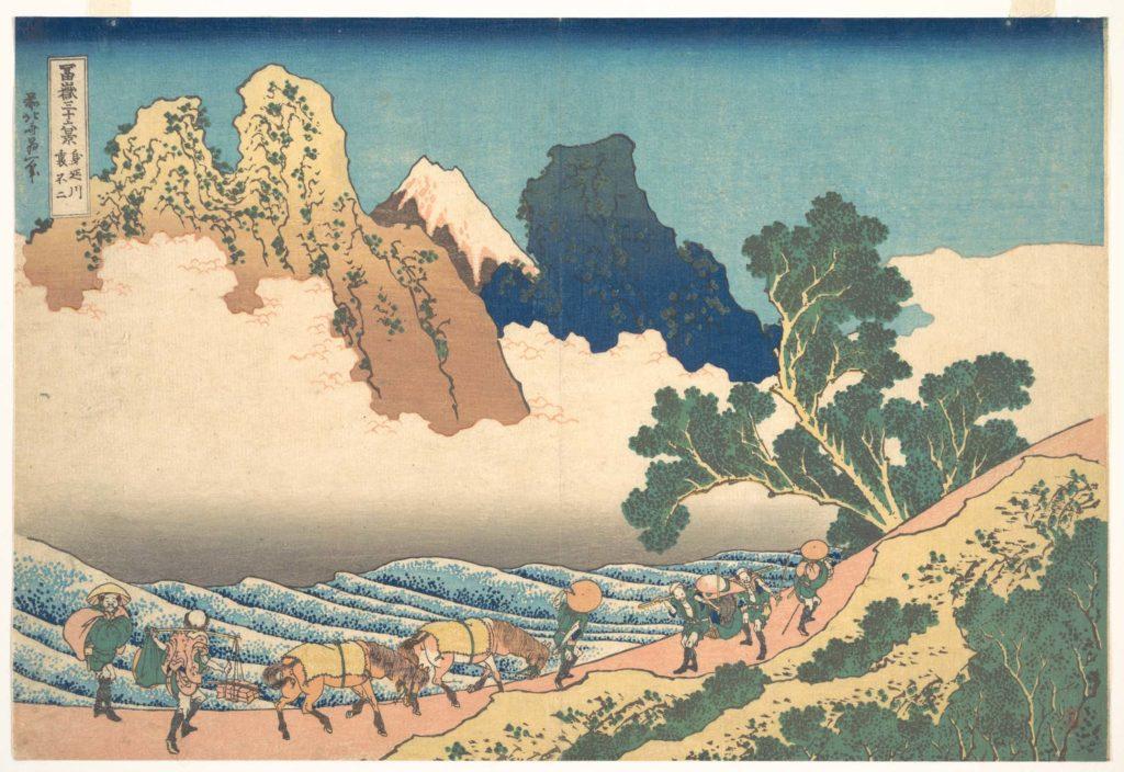 View from the Other Side of Fuji from the Minobu River (Minobugawa ura Fuji), from the series Thirty-six Views of Mount Fuji (Fugaku sanjūrokkei)