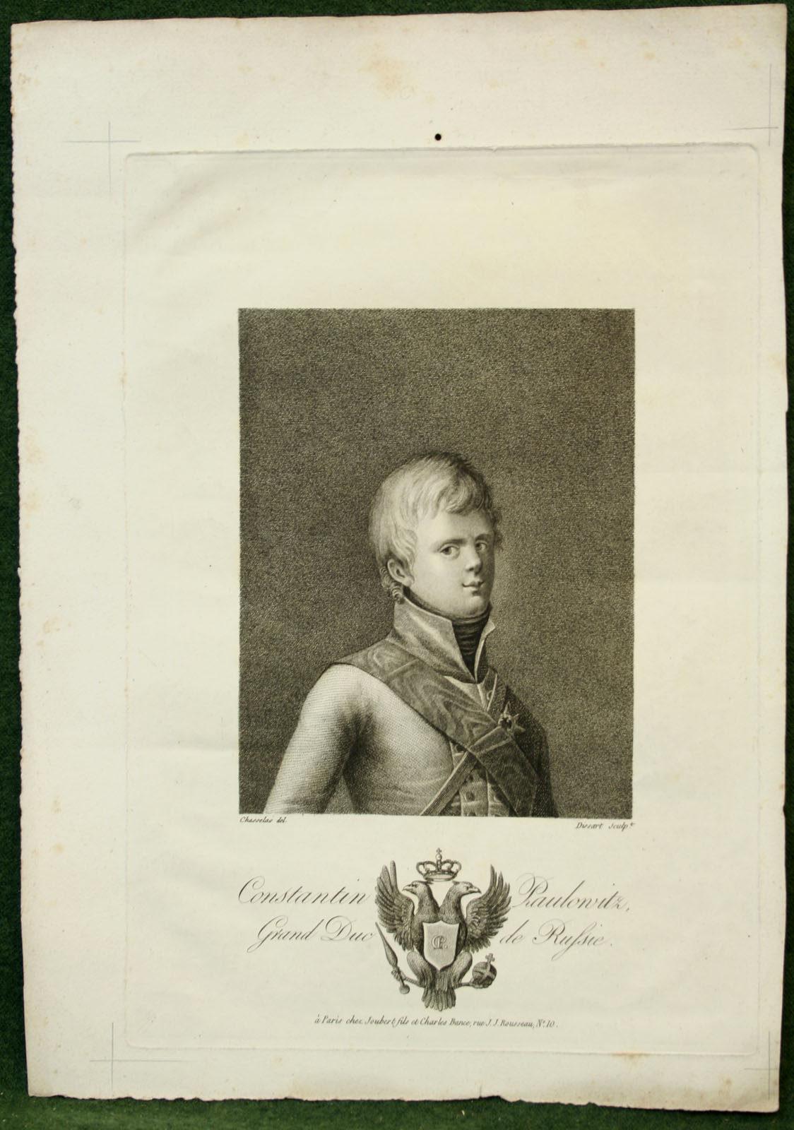 Constantin Pavlovich - grand duke of Russia. Lithograph.