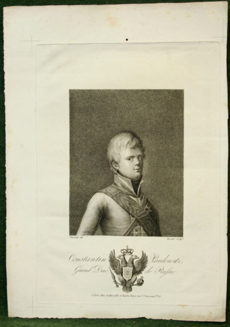 Constantin Pavlovich - grand duke of Russia. Lithograph.