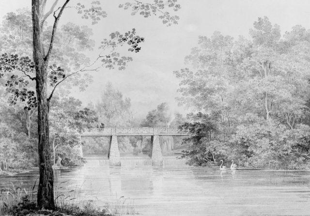 Bridge over Crumelbow Creek, David Hosack Estate, Hyde Park, New York (from Hosack Album)