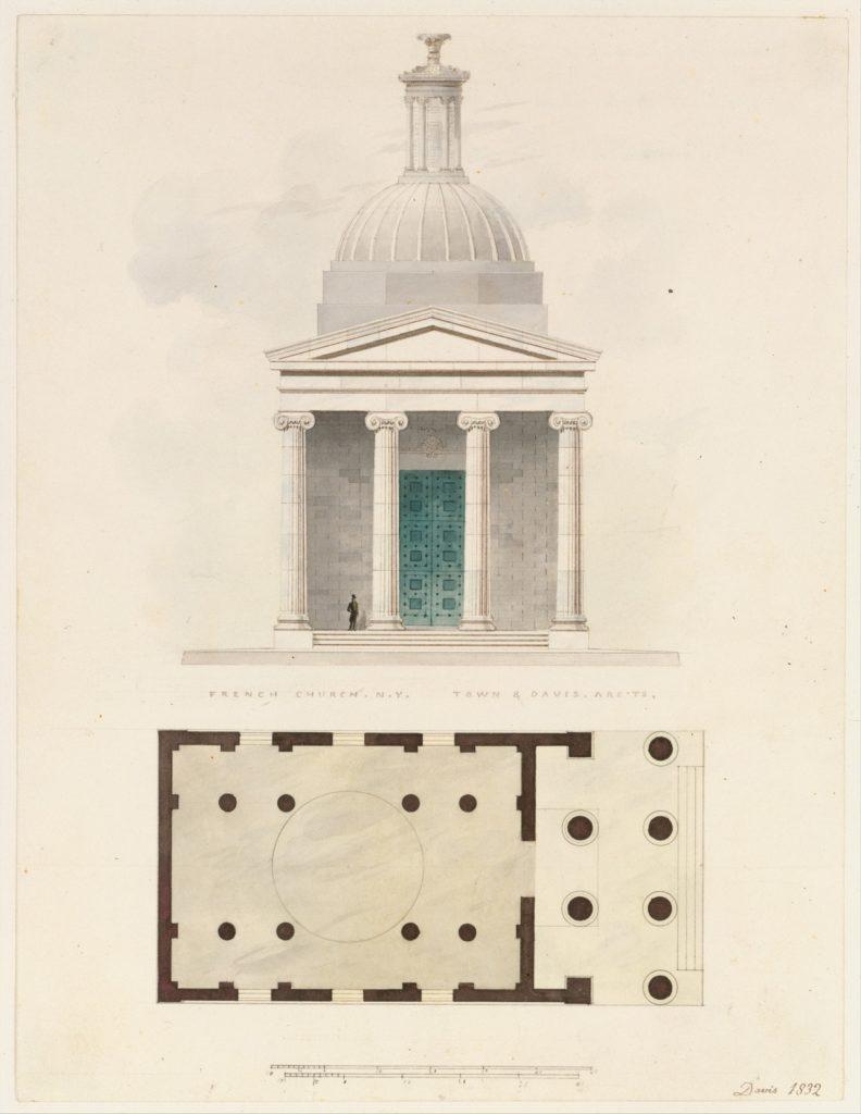 Church of the French Protestants (Eglise Français du Saint Esprit), New York (front elevation and plan)