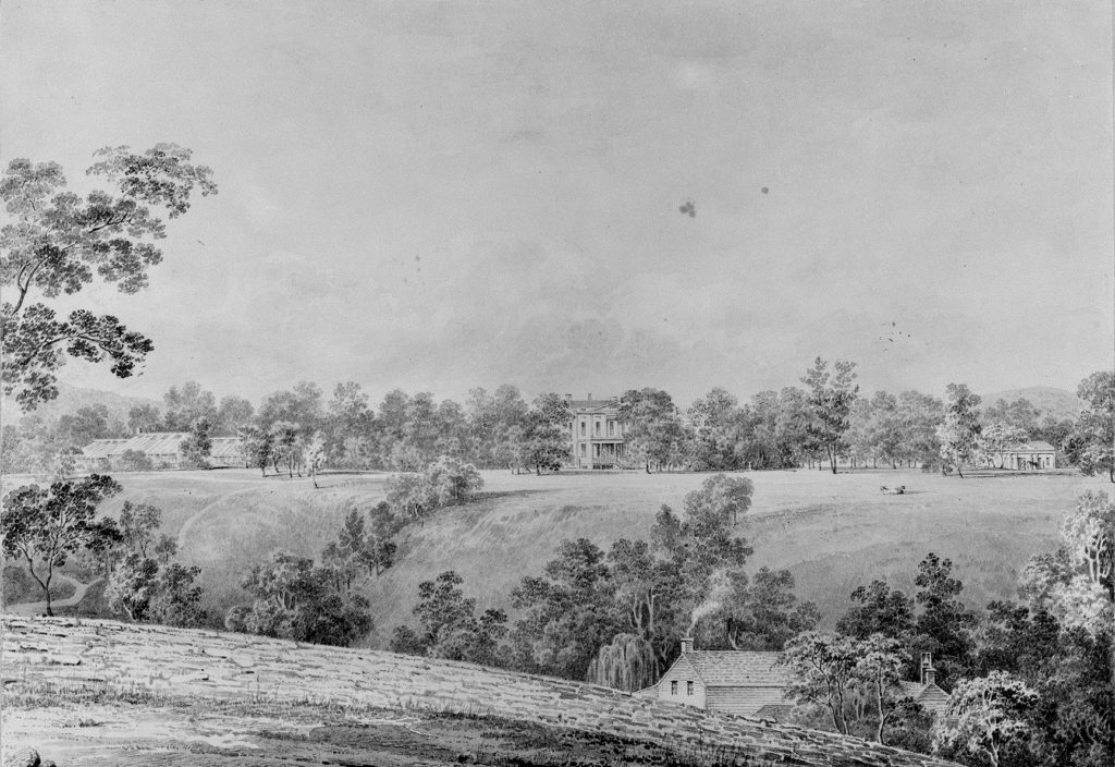 View of David Hosack Estate, Hyde Park, New York, from the East (from Hosack Album)