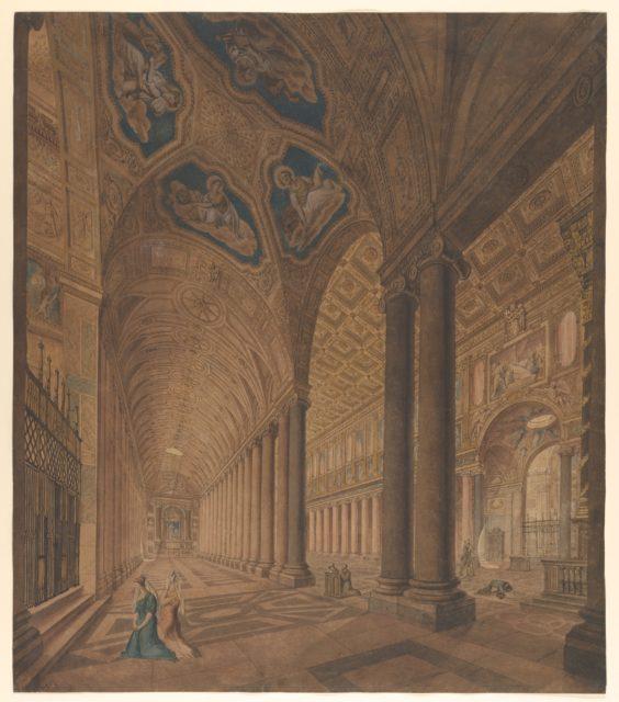 Interior View of the Basilica of Santa Maria Maggiore, Rome