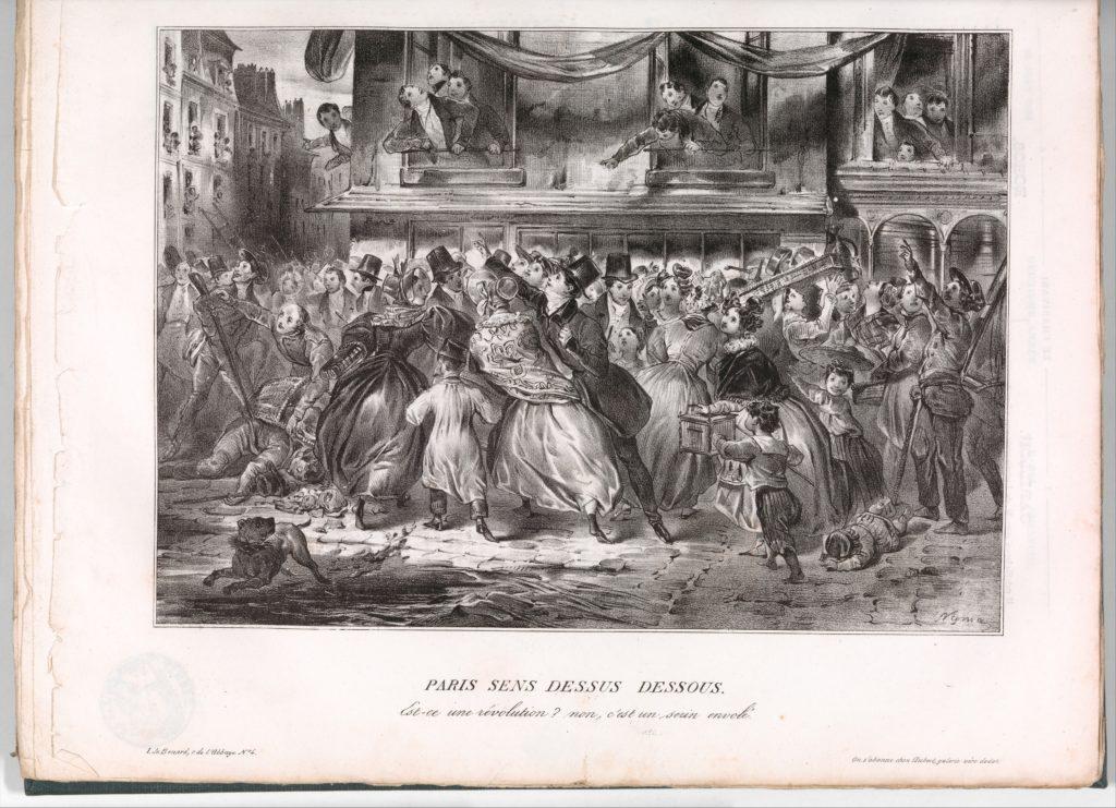 Paris Sens Dessus Dessous: Est-ce une révolution? non, c'est un seein envolé (Le Charivari, June 22, 1833)