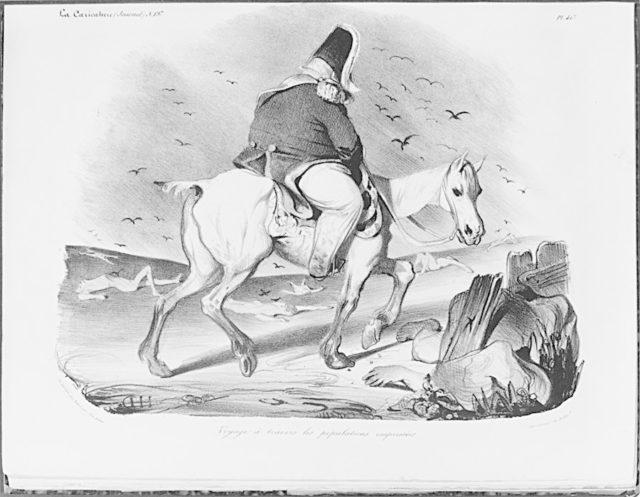 Journey through the Eager Population (Voyage à Travers les Populations Empressées), from La Caricature, plate 413