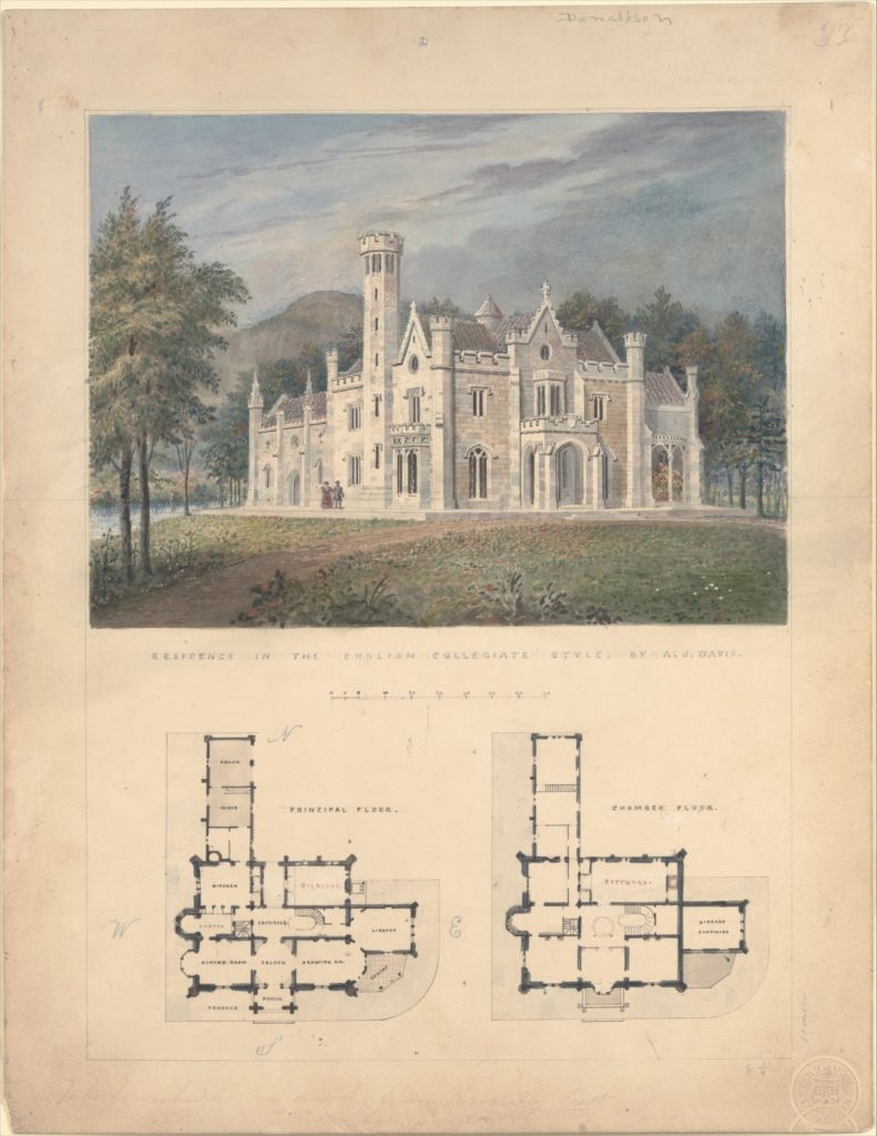 Villa for Robert Donaldson, Fishkill Landing, New York (perspective and plans)