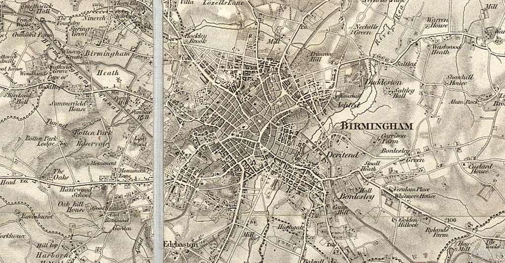 Birmingham OS 1834 map