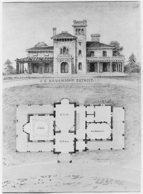 The J. C. Baughman (Scotten) House, Detroit, Michigan (front elevation and plan)