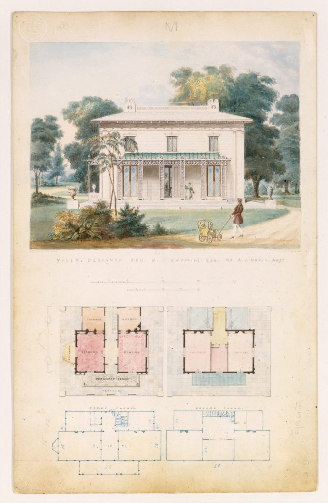 Villa for David Codwise, near New Rochelle, NY (project; elevation and four plans)