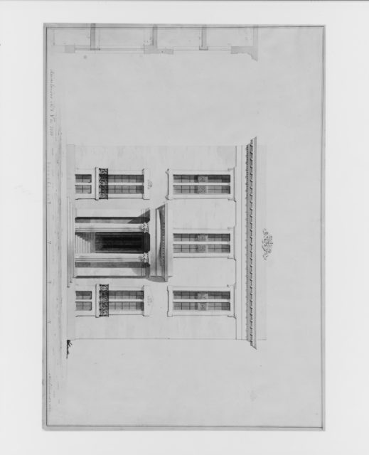 House for William C. Rhinelander, No. 1 Fifth Avenue, New York (front elevation and partial section, project)