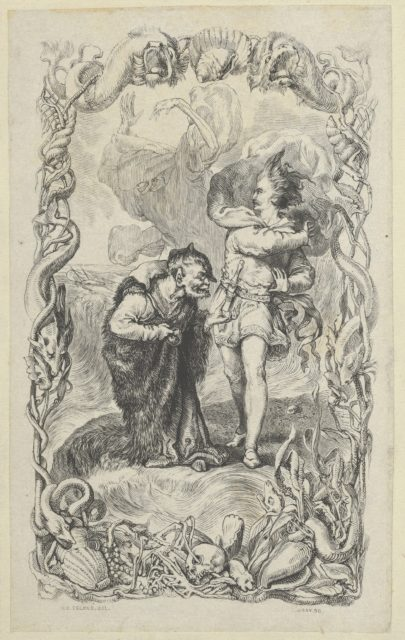 Illustration to the Tempest: Caliban, Ferdinand and Ariel
