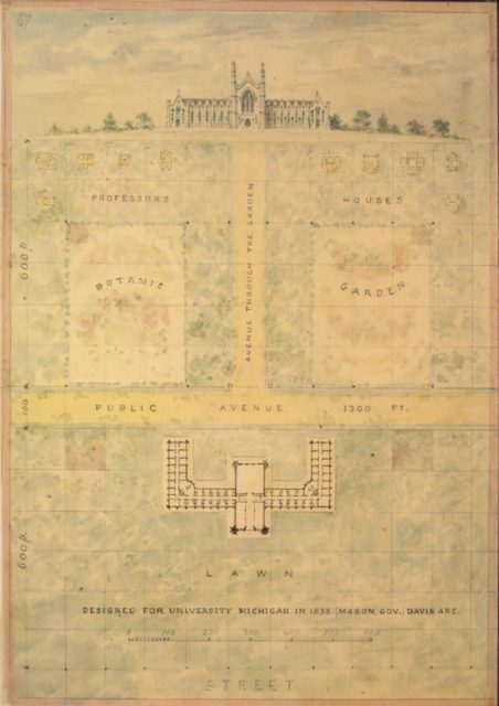Design for University of Michigan (elevation and plan of building and grounds)
