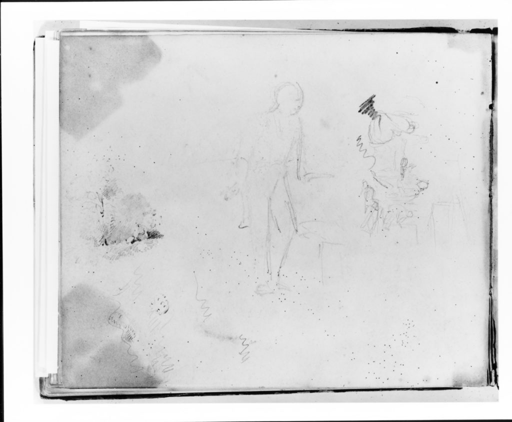Three Studies: Standing Figure Facing Left; Interior with Figures and a Dog; Landscape (from Sketchbook)