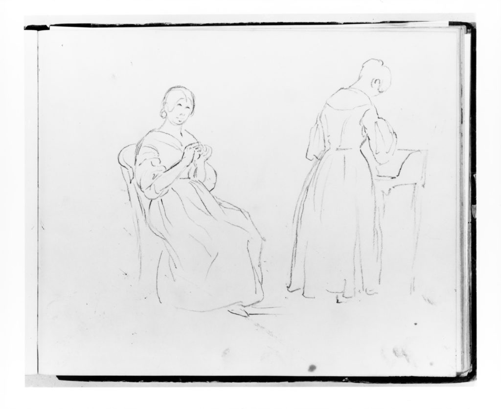 Two Studies: Woman Sewing; Woman at a Desk (from Sketchbook)