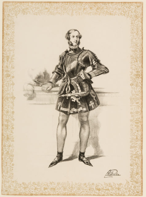 Print of William 2nd Earl of Craven in Costume Worn at Eglinton Tournament 1839