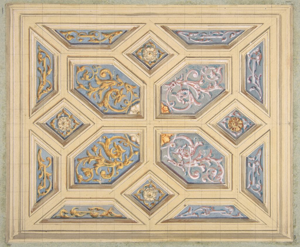 Design for a coffered ceiling decorated with rinceaux