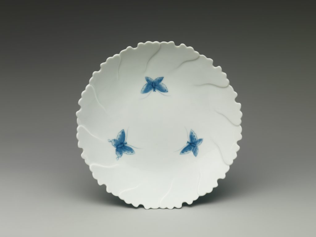 Peony-Shaped Dish with Butterflies