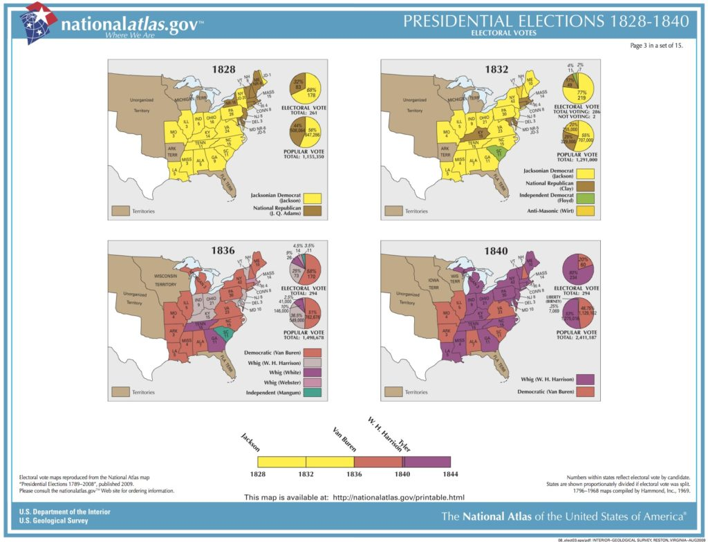 Map Of Us In 1840.U S Presidential Elections 1828 1840 Picryl