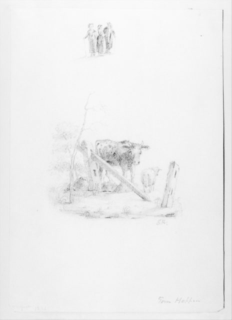 Landscape with Two Cows and a Broken Fence; Three Standing Figures (from McGuire Scrapbook)