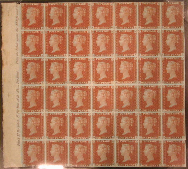 "Unused block of forty-two ""Penny Red-Brown"" postage stamps of Queen Victoria"