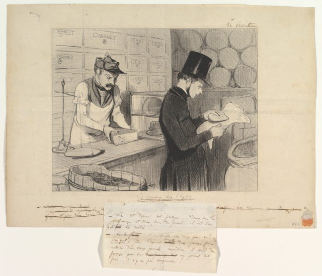 Newspapers at the Grocers (Les journaux chez l'épicier) from La Caricature, October 23, 1842