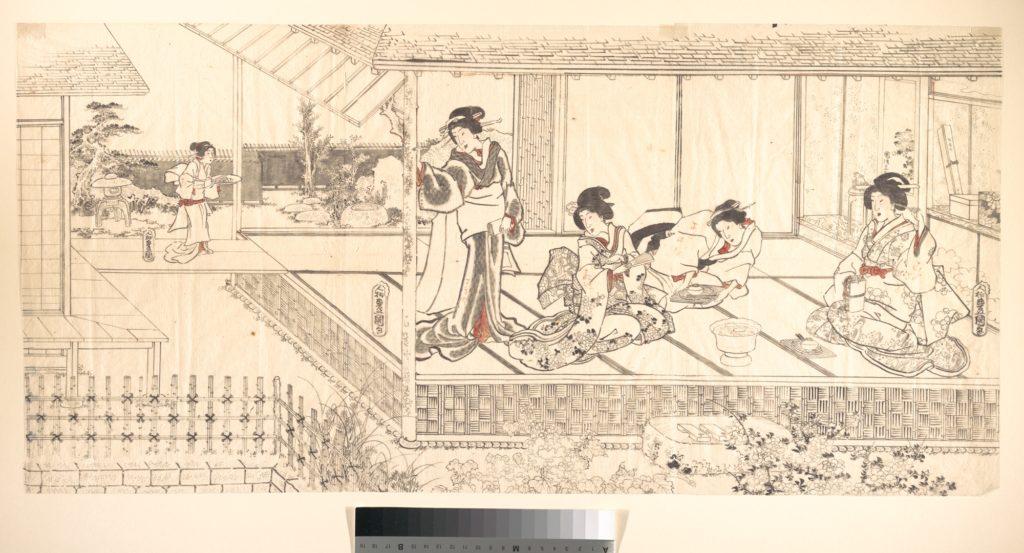 Two Court Ladies (Goten Jochu) and a Geisha at a Restaurant
