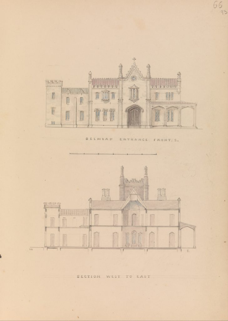 """""""Belmead"""", James River, Virginia: Entrance façade and west-east section (recto); North-south section and upper floorplan (verso)"""