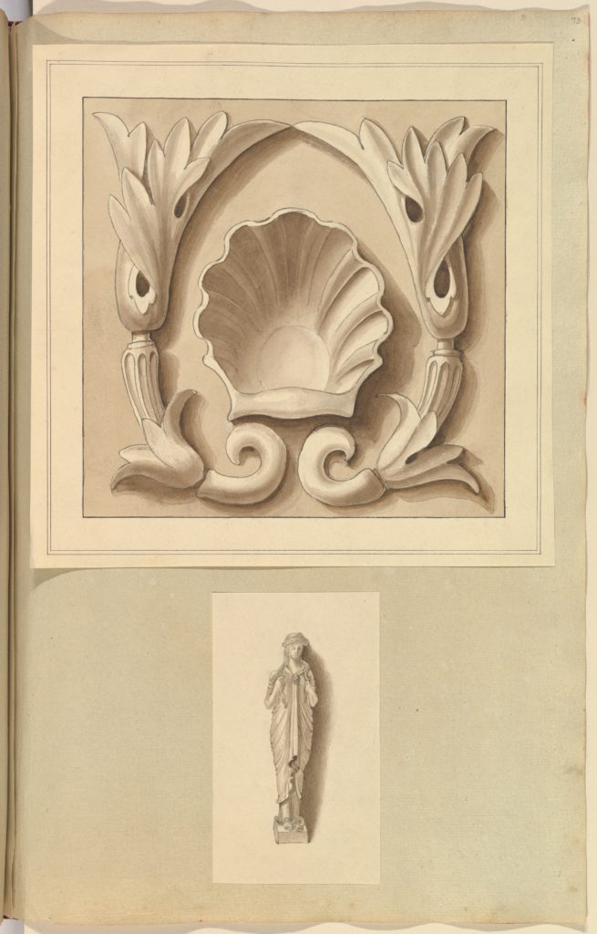 Carved Stone Ornamental Panel and Classical Female Figure