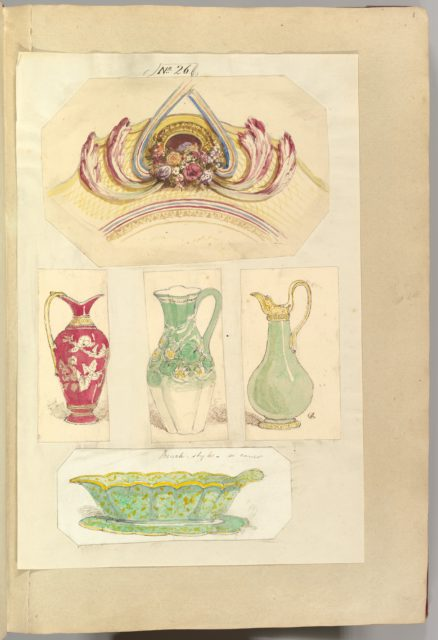 Designs for an Pierced Border Ornament, Three Pitchers and an Open Basin (recto); Design for a Candle Stick (verso)