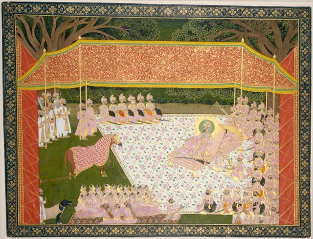 Maharana Sarup Singh Inspects a Prize Stallion