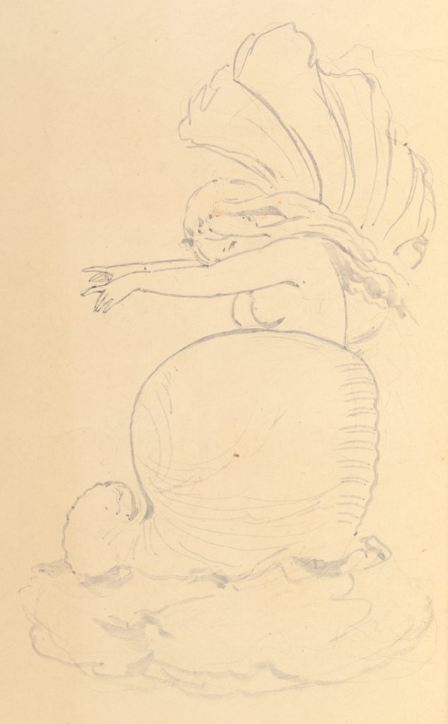 Sketch of a Fairy or Spirit Emerging from a Shell