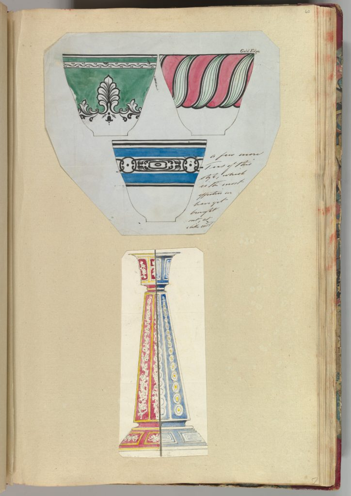 Three Designs for Decorated Cups and Two Designs for a Candlestick
