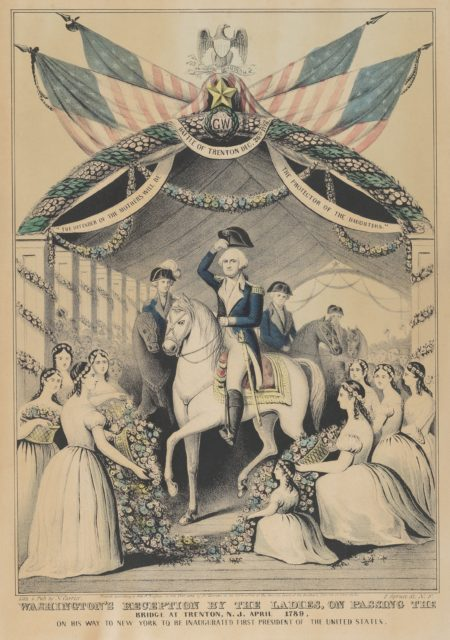 Washington's Reception by the Ladies on Passing the Bridge at Trenton, N.J., April 1789, on His Way to be Inaugurated First President of the United States