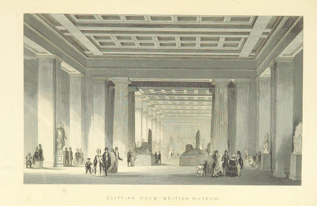"""British Museum from """"Illustrated London, or, a series of views in the British metropolis and its vicinity, engraved by Albert Henry Payne, from original drawings. The historical, topographical and miscellaneous notices, by W. I. Bicknell"""""""