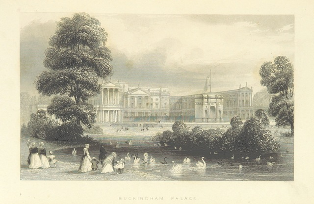 """Buckingham Palace from """"Illustrated London, or, a series of views in the British metropolis and its vicinity, engraved by Albert Henry Payne, from original drawings. The historical, topographical and miscellaneous notices, by W. I. Bicknell"""""""