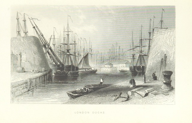 """docks from """"Illustrated London, or, a series of views in the British metropolis and its vicinity, engraved by Albert Henry Payne, from original drawings. The historical, topographical and miscellaneous notices, by W. I. Bicknell"""""""