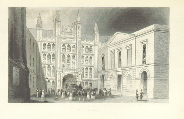 """Guildhall from """"Illustrated London, or, a series of views in the British metropolis and its vicinity, engraved by Albert Henry Payne, from original drawings. The historical, topographical and miscellaneous notices, by W. I. Bicknell"""""""
