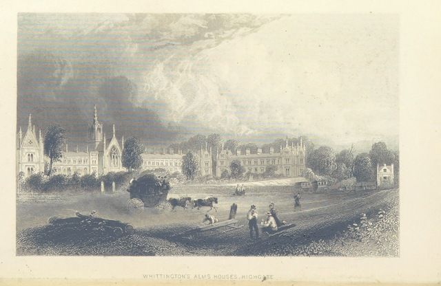 """Highgate from """"Illustrated London, or, a series of views in the British metropolis and its vicinity, engraved by Albert Henry Payne, from original drawings. The historical, topographical and miscellaneous notices, by W. I. Bicknell"""""""