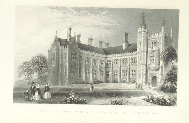 """hospital from """"Illustrated London, or, a series of views in the British metropolis and its vicinity, engraved by Albert Henry Payne, from original drawings. The historical, topographical and miscellaneous notices, by W. I. Bicknell"""""""