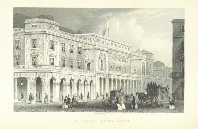 """opera house from """"Illustrated London, or, a series of views in the British metropolis and its vicinity, engraved by Albert Henry Payne, from original drawings. The historical, topographical and miscellaneous notices, by W. I. Bicknell"""""""