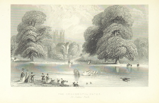 """park from """"Illustrated London, or, a series of views in the British metropolis and its vicinity, engraved by Albert Henry Payne, from original drawings. The historical, topographical and miscellaneous notices, by W. I. Bicknell"""""""