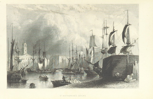 """St Katherine's Dock from """"Illustrated London, or, a series of views in the British metropolis and its vicinity, engraved by Albert Henry Payne, from original drawings. The historical, topographical and miscellaneous notices, by W. I. Bicknell"""""""