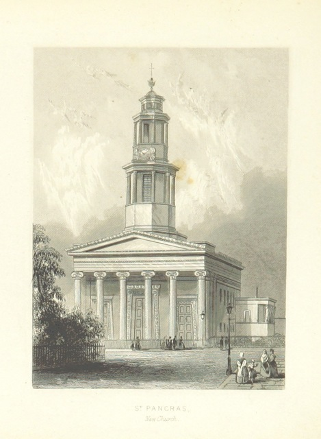 """St Pancras New Church from """"Illustrated London, or, a series of views in the British metropolis and its vicinity, engraved by Albert Henry Payne, from original drawings. The historical, topographical and miscellaneous notices, by W. I. Bicknell"""""""