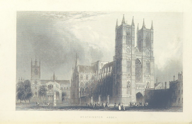 """Westminster Abbey from """"Illustrated London, or, a series of views in the British metropolis and its vicinity, engraved by Albert Henry Payne, from original drawings. The historical, topographical and miscellaneous notices, by W. I. Bicknell"""""""