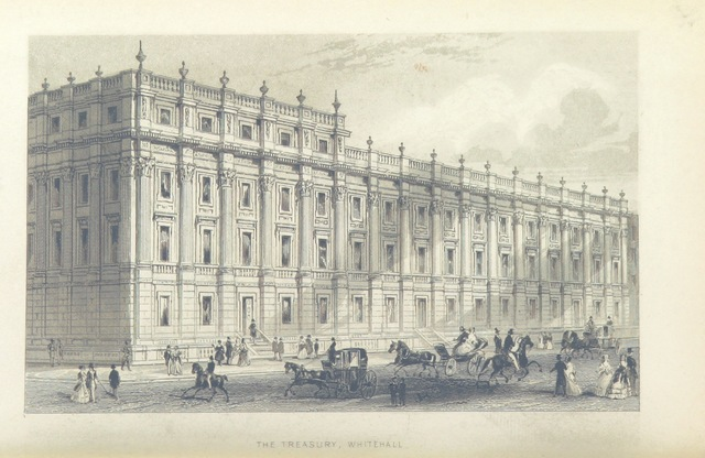 """Whitehall from """"Illustrated London, or, a series of views in the British metropolis and its vicinity, engraved by Albert Henry Payne, from original drawings. The historical, topographical and miscellaneous notices, by W. I. Bicknell"""""""