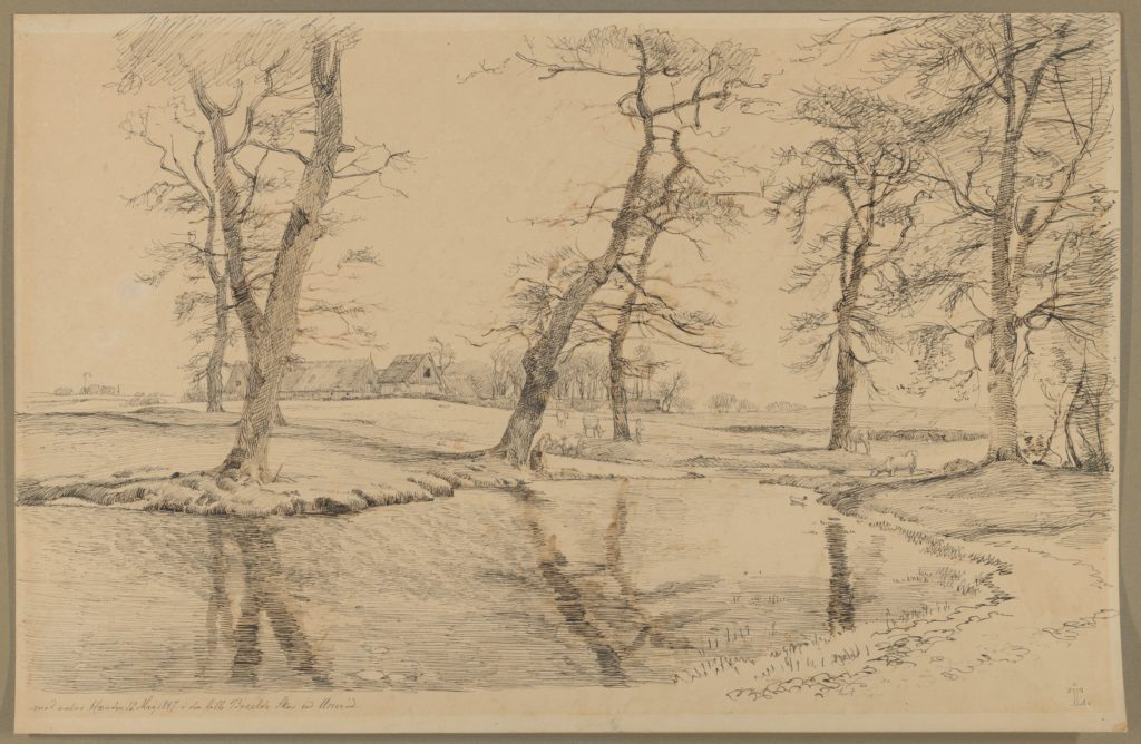 A Brook near a Farm in Usserød with Cows and Two Figures