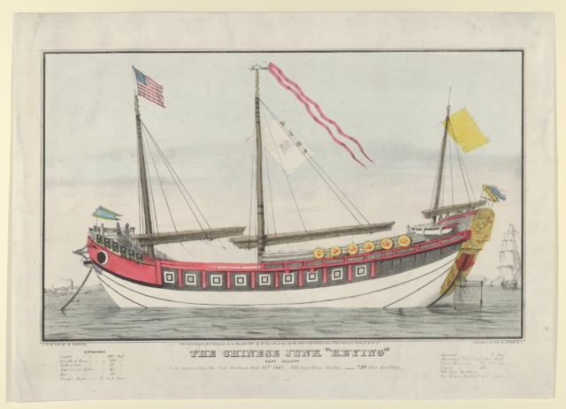 "The Chinese Junk ""Keying""–Captain Kellett–As she appeared in New York harbour July 13th, 1847–212 days from Canton.–720 tons burthen"