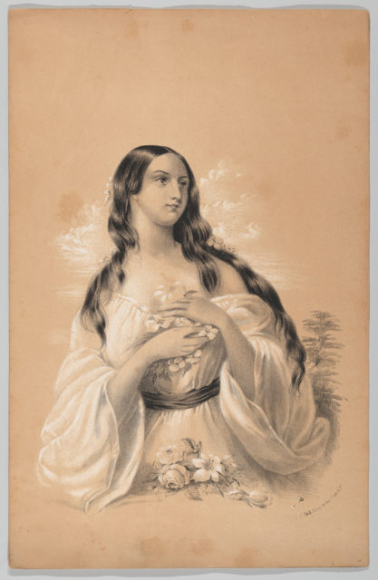 Woman Holding Flowers, in The New York Drawing Book, Containing a Series of Original Designs and Sketches of American Scenery, No. 2