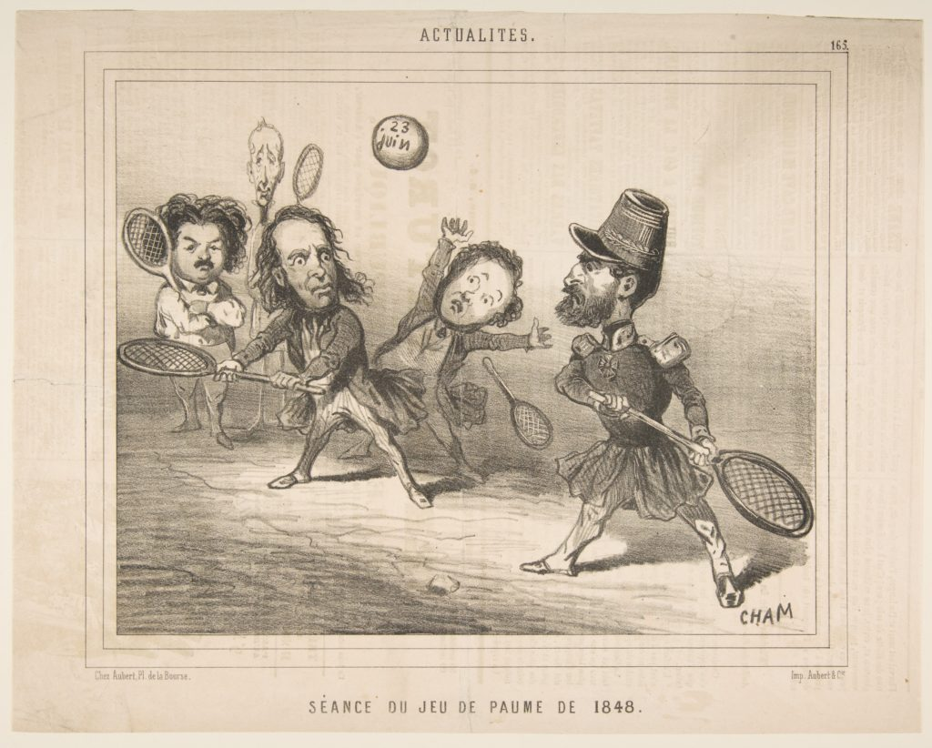 Tennis Session of 1848, from Actualités, published in Le Charivari