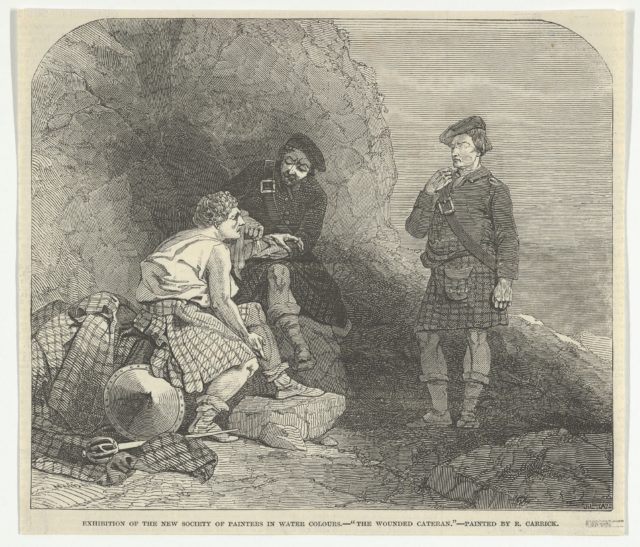 "The Wounded Cateran by R. Carrick, Exhibition of the New Society of Painters in Water Colours, from the ""Illustrated London News"""
